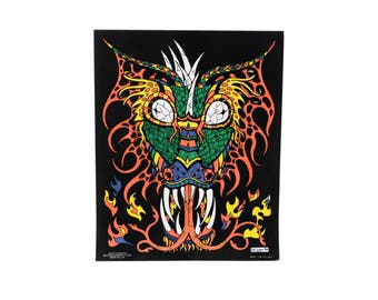 vintage 90s fuzzy velvet poster dragon Fuzzy Posters Western Graphics M. Logan black light poster stoner rave 1990 dorm wall decor 16x20