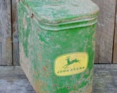Vintage John Deere Seed Hopper Corn Planter Metal Box w/ Lid Four Legged Deer Green Yellow Barn Farmhouse Industrial Decor Repurpose Restore