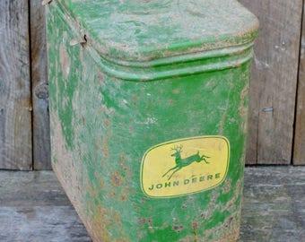 Vintage John Deere Seed Hopper Corn Planter Metal Box w/ Lid Four Legged Deer Green Yellow Barn Farmhouse Industrial Decor Repurpose Restore