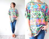 Vintage oversized aztec print neon shirt // Boho neon pink lime green purple retro 80's top // large shirt navajo southwestern tribal print