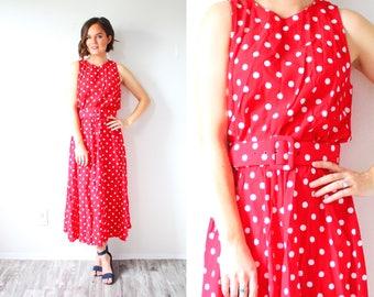 Vintage red 1950's dress // polka dot full circle dress // cherry red spotted // polka dot 50's dress // red modest dress belted full skirt
