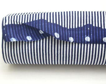 Japanese Vintage Indigo Yukata Cotton. Full Fabric Bolt for Traditional Clothing. Hand Dyed Indigo Blue Striped (Ref: 1782)