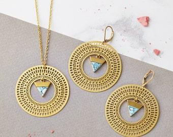 Boho Jewellery - Geometric Necklace,  Triangle Necklace, Gold Necklace, Minimalist Jewelry, Triangle Earrings, Geometric Jewelry, Gold Hoops