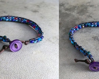 Jewel Tone Wrap Bracelet Frosted Purple Blue Beaded Boho Button Jewelry
