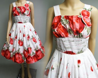 Vintage 1950s Dress | Apple Dress | Rockabilly Dress |  50s Dress | 1950s Party Dress |