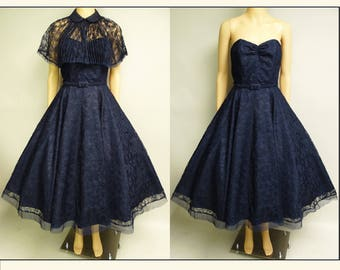 1950s Party Dress | Navy Blue Dress | Vintage 1950s Dress | Blue Lace Dress | 50s Strapless Dress | 50s Dress | 1950s Dress Matching Cape |