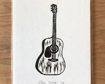Guitar Woodcut
