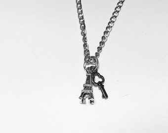 charm necklace with choice of two charms. chain link antiqued silver necklace. choose from fifteen charms.