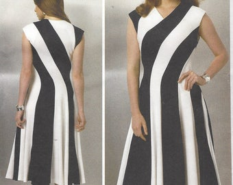 Claire Shaeffer Womens Bias Pullover Dress Custom Couture Details Vogue Sewing Pattern V9145 Size 16 18 20 22 24 Bust 38 40 42 44 46 FF