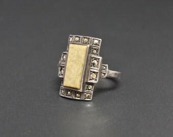 Art Deco Marcasite Jasper Ring Fine 935 Sterling Silver Size 5.5