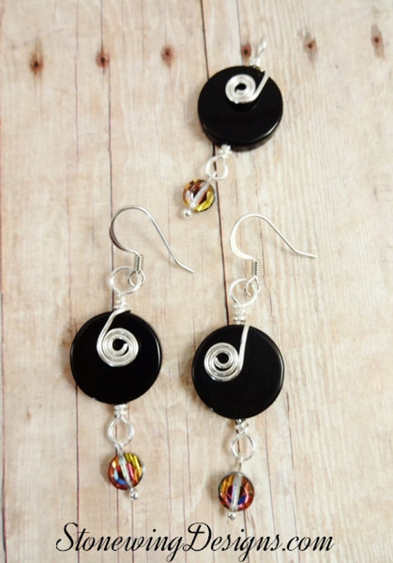 Black Onyx Earrings and Pendant, Black and Silver Earrings and Pendant, Silver Swirl earrings, Black Onyx & Swarovski earrings