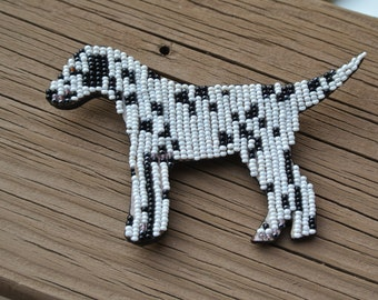Vintage Dalmatian Dog BEADED Leather Pin Brooch Artisan Handcrafted _ Mary B Jewelry