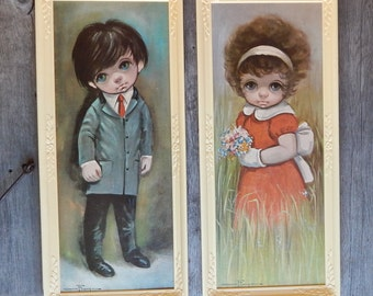 Pair of Big Eyed Children textured Litho prints by Ozz Franca DAC NY, collectible prints in plastic frames