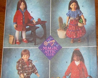 """Crafts Sewing Pattern Simplicity 8451 0680 Magic Attic Club 18"""" Doll Clothes, Boy Girl Coat Sweater Jacket Skirt Shorts, Uncut Factory Folds"""