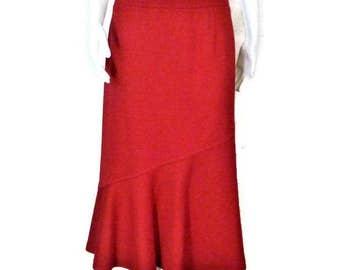 80s Red Skirt Red Knit Skirt Red Wool Skirt  1980s Office Skirt Glenayr Kitten Skirt Made In Canada Flared Skirt Scarlet Red Skirt