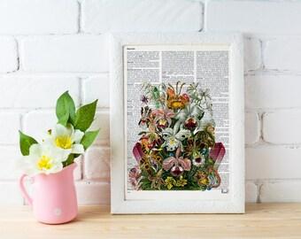 Summer Sale Flowers and Minerals bouquet. Orchids art print-Winter gift- Anatomy art, love wall art, human anatomy art BFL148
