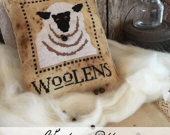 Woolens cross stitch patterns by The Primitive Hare at cottageneedle.com sheep ewe pincushion pillow Easter Spring