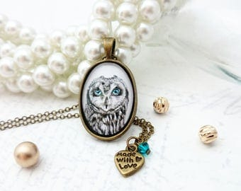 Owl Necklace - Animal Art Print Necklace, Image Necklace, Owl Jewelry, Owl Oval Pendant