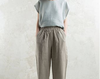 Natural linen pants, Casual pants, Loose pants with pockets, Linen wear - dove grey, white, dusty rose, flax grey, charcoal, mustard, black