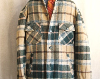Plaid Jacket, Lined, Mens 42, Green and Tan, Sear Roebuck, Vintage Outerwear, Hipster, Winter Coat, Coats, Shirt Jacket, Plaids, Lumberjack