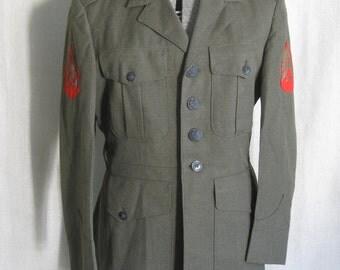 Military Jacket, Uniform, Green Wool, US Marines, Dress Coat, Coat, Mens, Mans, Dress Uniform, 39 Short, Small, Wool Jackets, Menswear, Coat