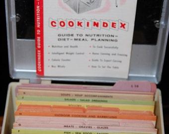 Vintage 1950's Full Recipe Index with Original Guide Book and Full Color Recipe Cards 1950's Favorite Recipes Food Index Plastic Recipe Box