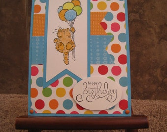 Handmade Birthday Card - Kitty Cat with Balloons - Hand Stamped
