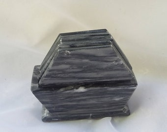 Set of Six Marble Coasters and Container