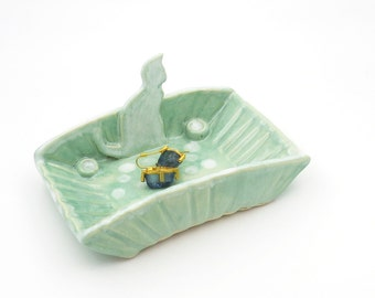 Ring Dish for Cat Lovers. Jewelry Holder. Mint. Handmade Pottery. Cat Pottery