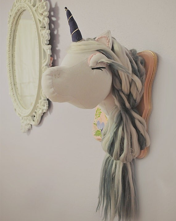 Plush Unicorn Wall Mount Faux Taxidermy Animal Head Stuffed