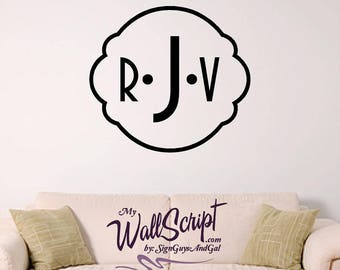 Custom Monogram Family Wall Decal, Entry way wall graphic