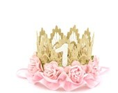 First Birthday lace crown    gold + pale pink flowers + ribbon    mini Sienna   photography prop