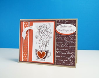 Best Friend Cards - Feel Better Cards - Coffee Card - Creative Handmade Cards - I miss You Card - All Occasion Cards - Card For Friends