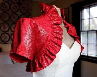 Red velvet ruffled bolero spencer shrug short sleeves winter bride Christmas wedding  fantasy romantic Victorian sparkle shimmer velvet sz M