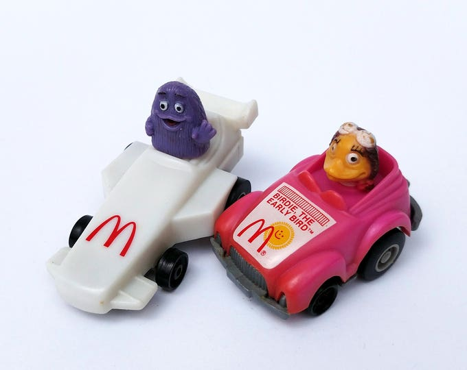 Vintage 1985 Grimace and Birdie Race Car Happy Meal Toys