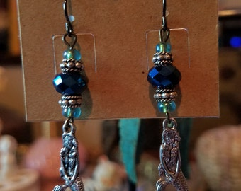 Lovely Blue and Opalescent Mermaid Earrings