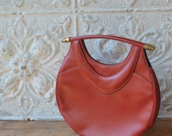 Vibrant Red Vintage Handbag, Red Vintage Bag, Mod Vintage Leather Purse, Bright Red Purse, Lipstick Red VIntage Bag