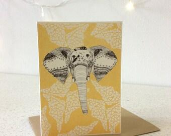 Elephant - Screen Printed Greeting Card Illustration