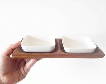 Vintage Teak Platter with Two White Melamine Square Bowls
