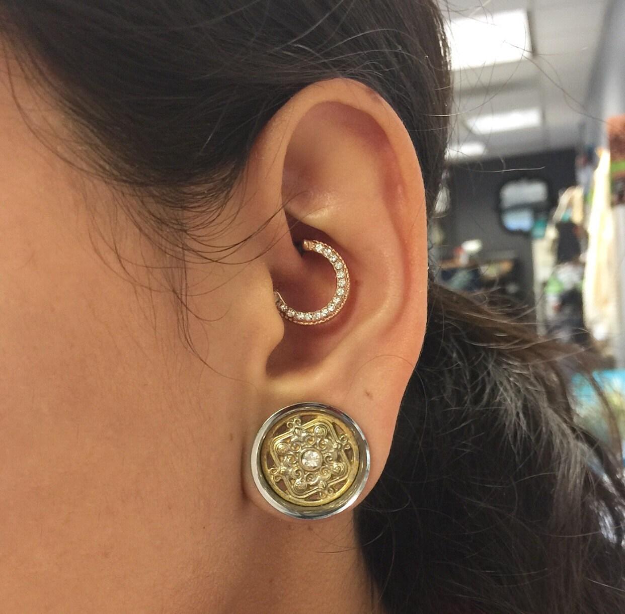 daith piercing rook earring hoop rose gold clicker