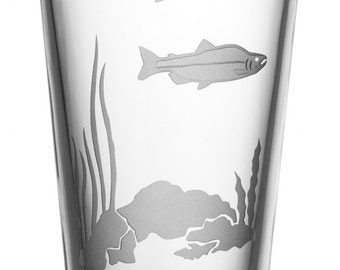 Salmon, 16oz Glass, etched (Sandblasted), Original Design