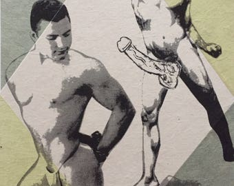 Original art monoprint Lithograph Chine Colle Vintage Gay male nude Beefcake Lithography art homoerotic art NYC