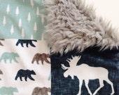 Baby Lovey Blanket, Security Blankie, Lovey Blanket, Woodland Lovey, Boy Lovey, Moose, Bear, Adventure, Navy, Mint