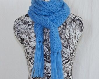 Soft Cornflower Blue Crochet Alpaca Wool Scarf, Openwork Fringe Scarf, Light Blue Ladies Scarf