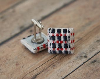 Fabric Plaid Cufflinks Woven Cuff Links Hipster Woodsmen Cloth Buttons - made with fabric buttons