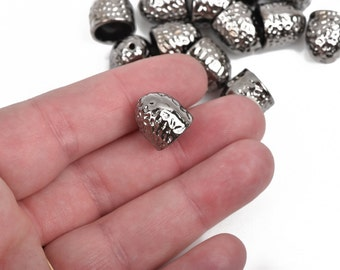 5 Gunmetal Hammered Textured End Caps for Kumihimo Jewelry, Leather Cord End Connectors, Bails, ...