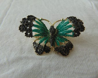 vintage butterfly brooch filigree black blue gold