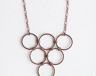 Red Necklace, Burnt Orange, Carnelian Necklace, Burnt Orange, Circle Necklace, Copper Necklace, Copper Jewelry