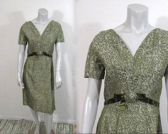 Beautiful 1960s Mad Men Olive Green Brocade Dress w Ribbon Trim & Rosette