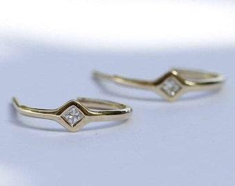 30% OFF SALE - Hoop delicate diamonds earrings, delicate earrings, hoop earrings, Princess cut diamond earrings.